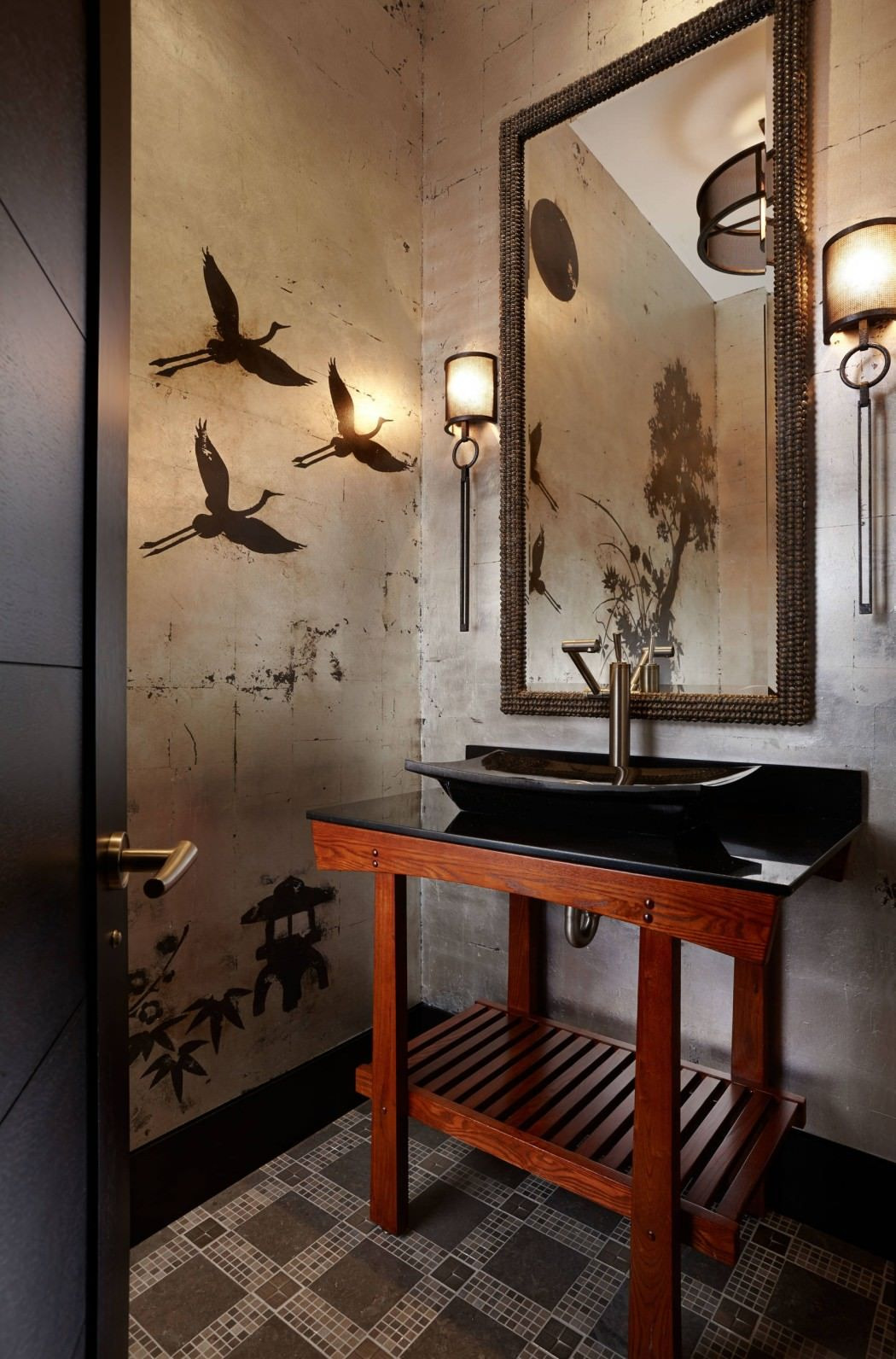new asian bathroom decor modern with wooden wall and large home