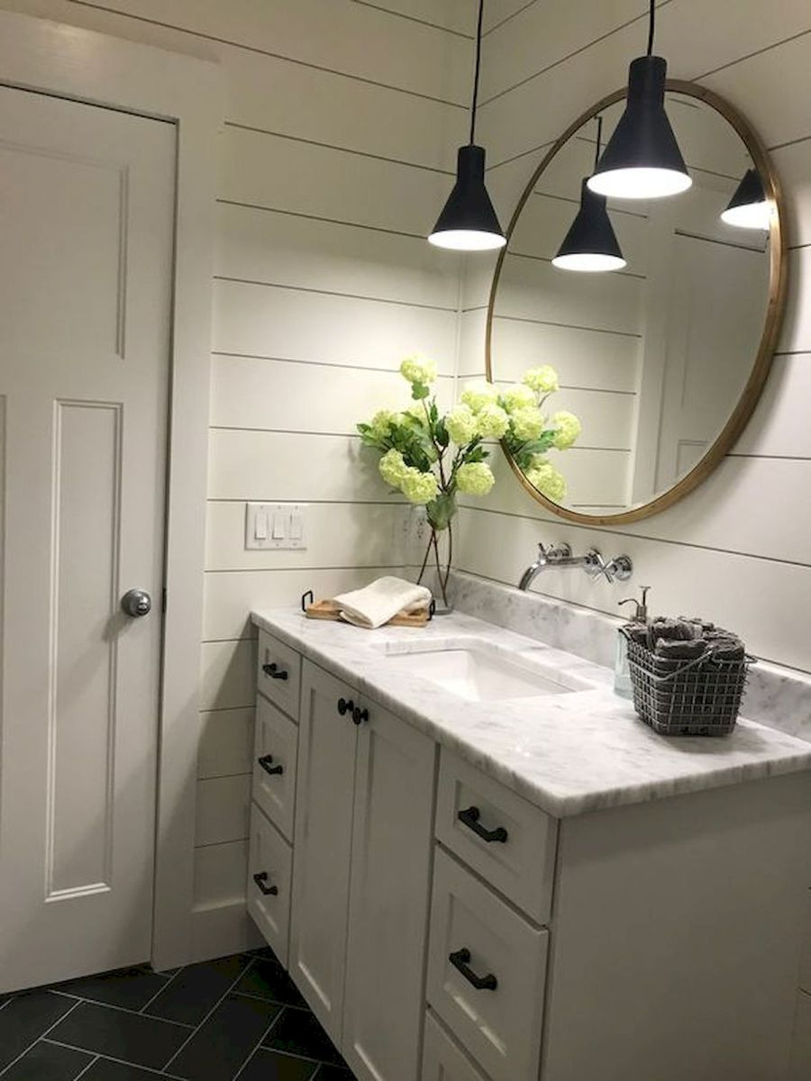 60 Fantastic Farmhouse Bathroom Vanity Decor Ideas And Remodel 45