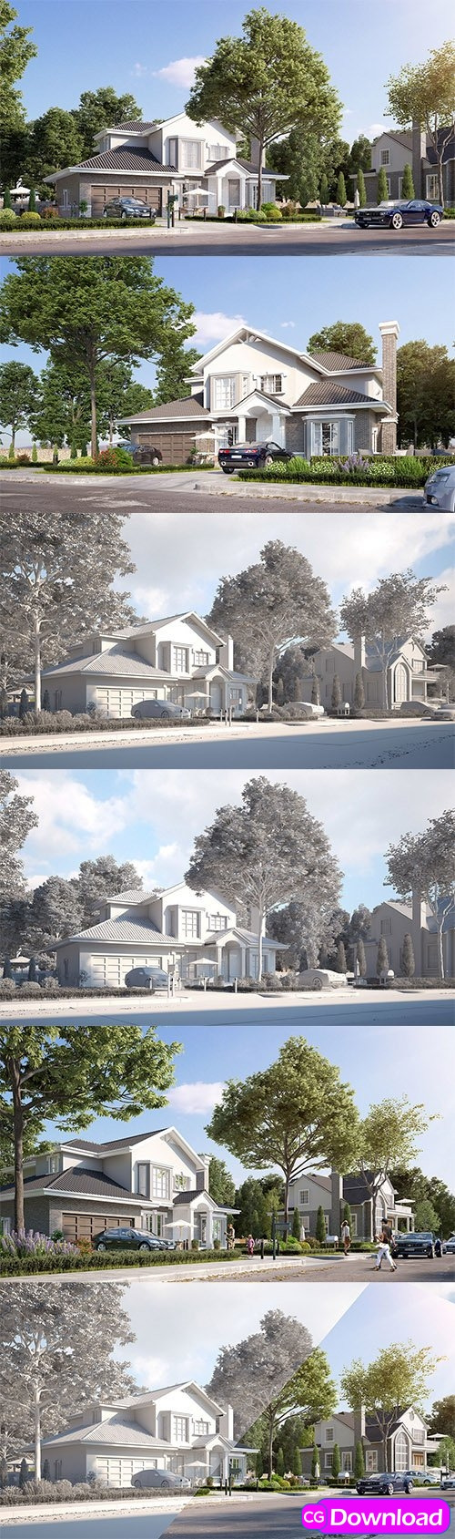 cgtrader exterior beautiful house best rendering low poly 3d model free