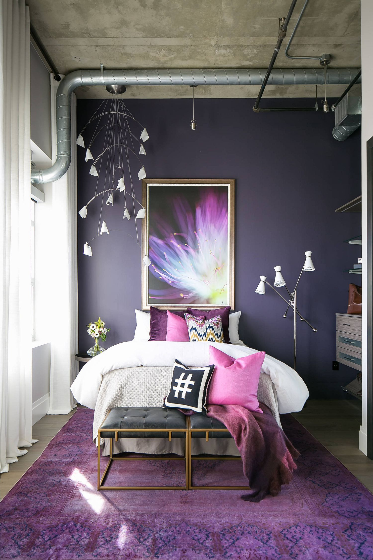 It is hard to find a more beautiful small bedroom with modern industrial style