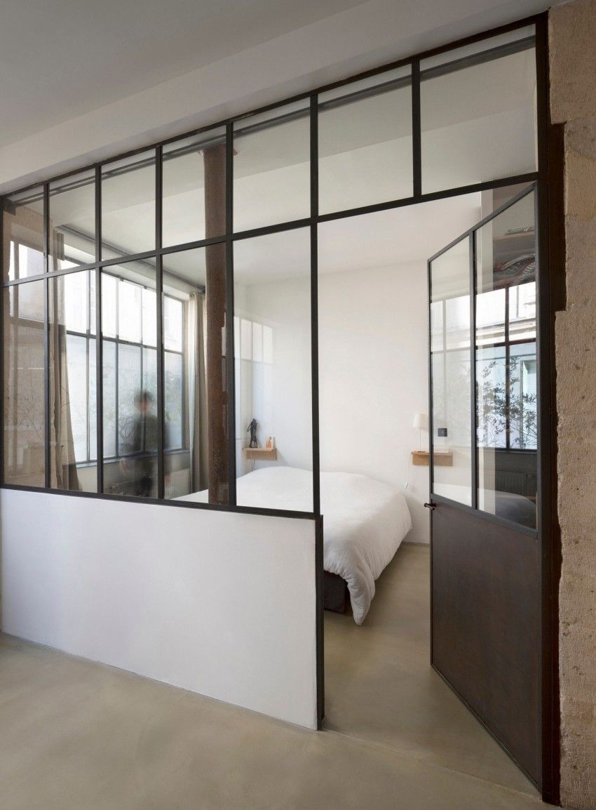 Bedroom with Glass Walls Fresh Loft In Paris by Maxime Jansens