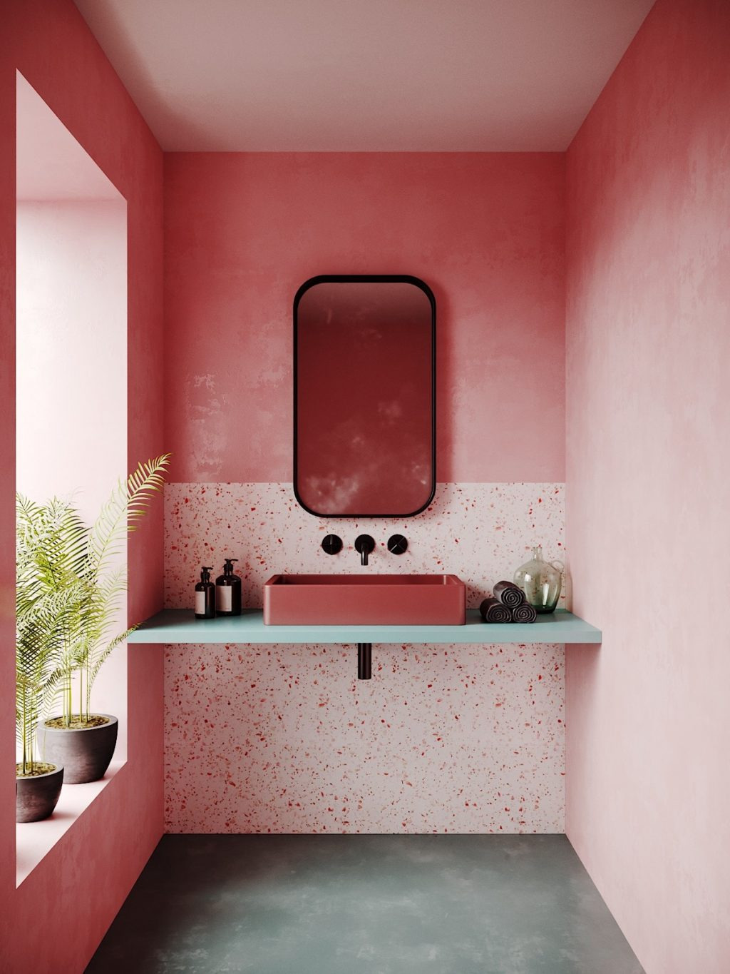 how to make a pink bathroom look modern 1024x1365