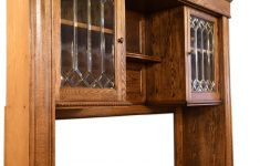 Buffet Cabinet With Glass Doors Luxury Oak Buffet With Leaded Glass Doors At 1stdibs