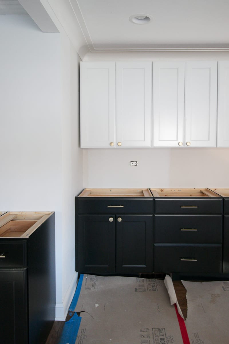 Black White Lowes Cabinets Progress kitchen