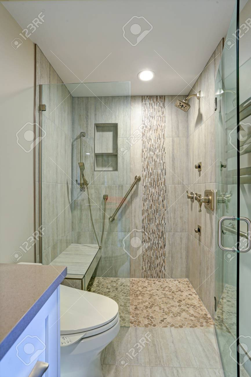 photo contemporary bathroom design boasts gorgeous walk in shower with tiled recessed shelves built in ben