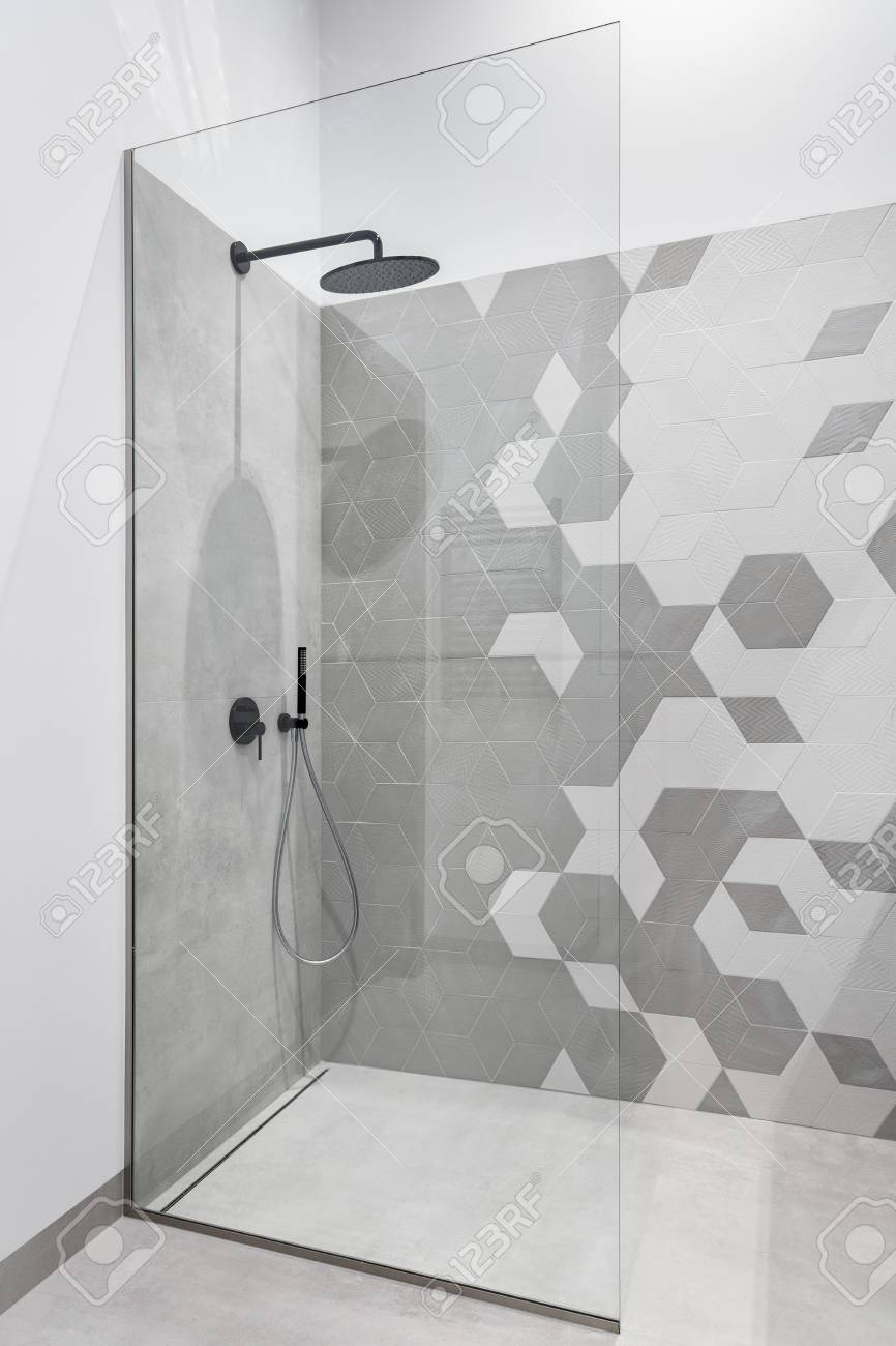Contemporary Walk In Shower Elegant Modern Bathroom In Gray and White with Walk In Shower