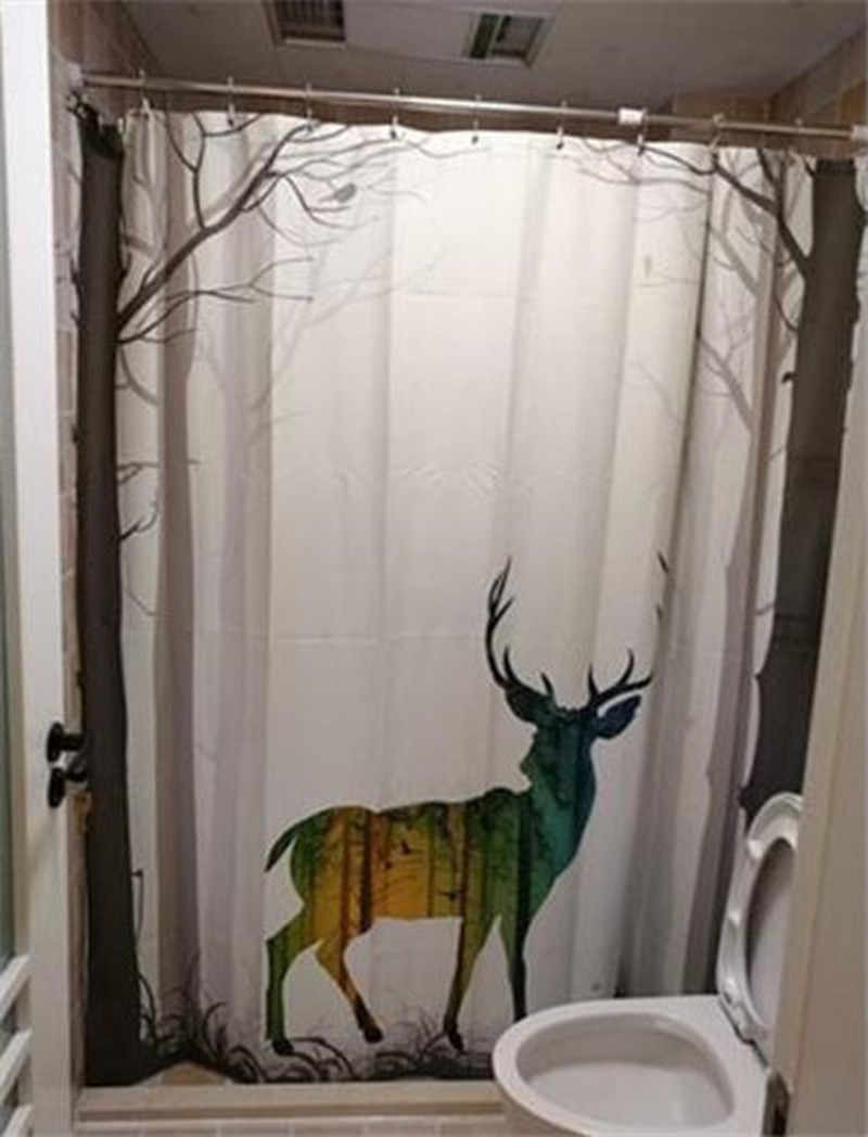 Forest Deer Shower Curtain Waterproof Mildew Polyester Thickened Toilet Partition Curtain Bathroom Curtain with Hooks Home q50