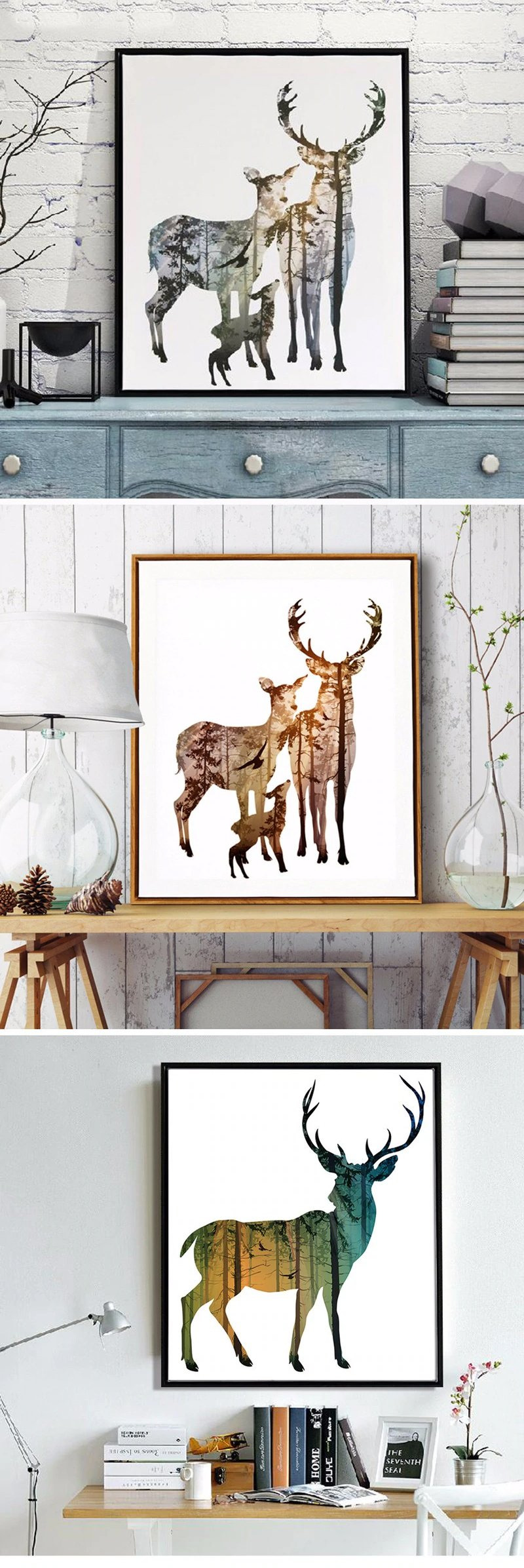 Deer Bathroom Decor Unique nordic forest Nature Animals Wall Art Canvas Paintings Modern Colorful Natural for Living Room Bathroom Decor