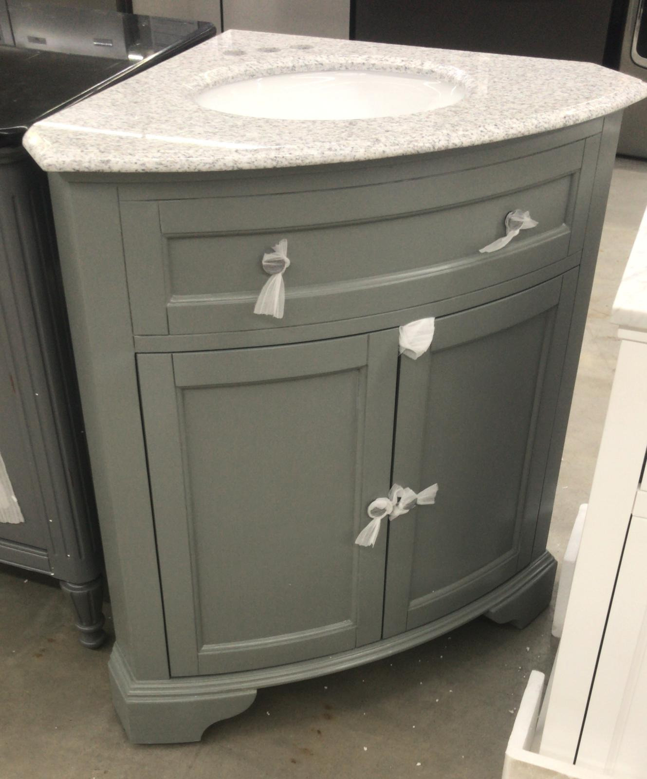 home decorators collection hamilton 31 in w x 23 in d corner bath vanity in grey with granite vanity top in grey with white basin