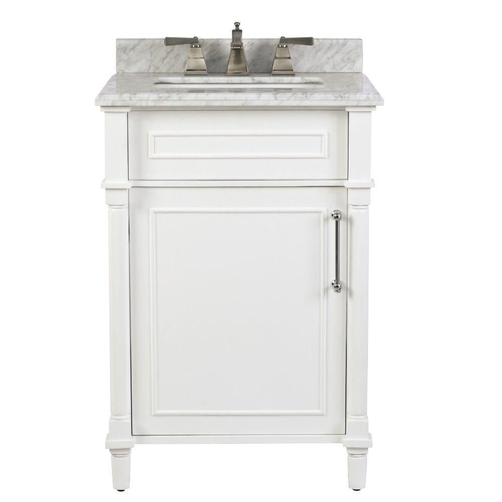Home Decorators Collection Bathroom Vanity Luxury Aberdeen 24 Inch W X 20 Inch D Bath Vanity In White with Carrara Marble top with White Sink