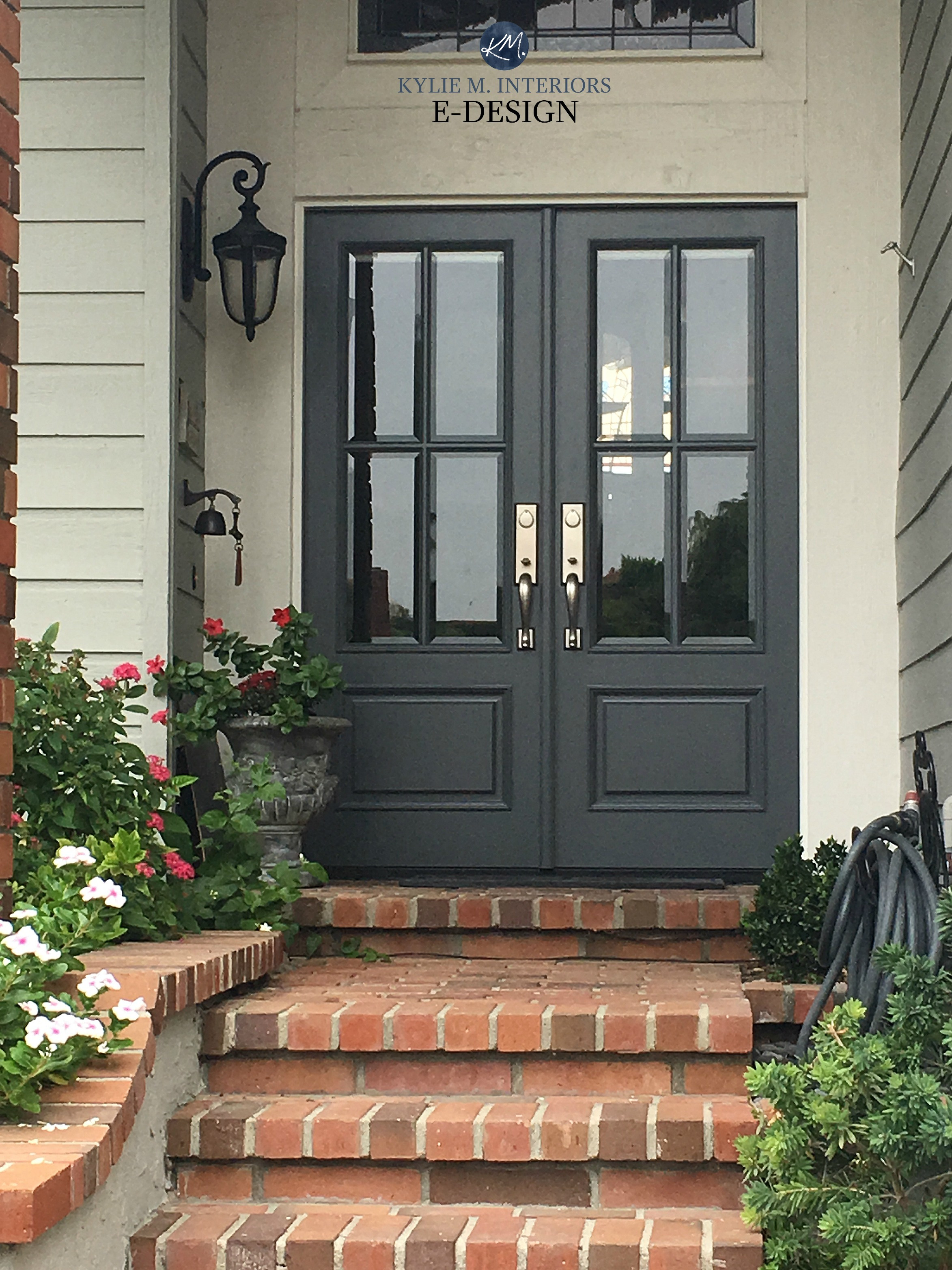 Front door Benjamin Moore Charcoal Slate red brick stairs on exterior Kylie M INteriors Edesign online paint color consulting