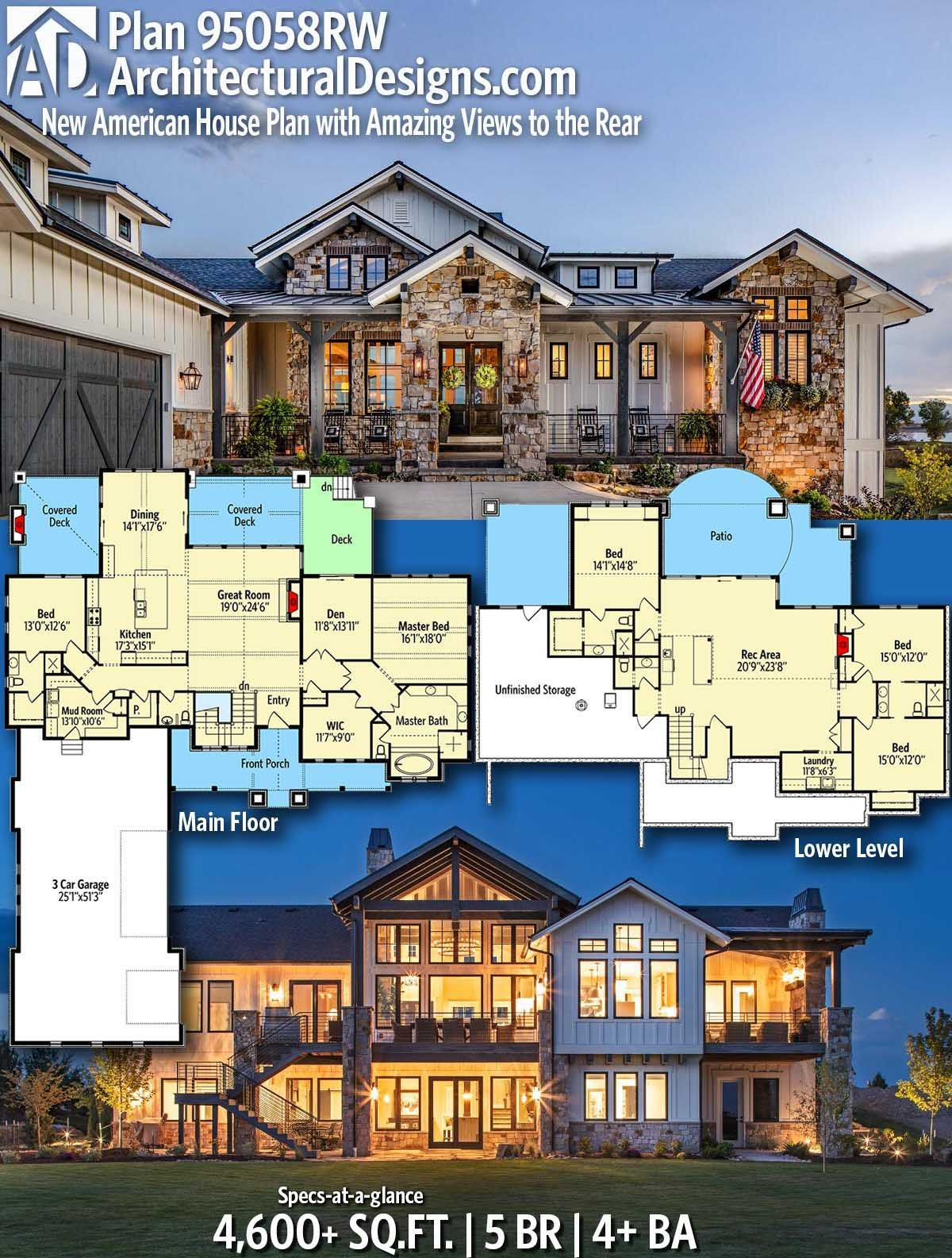 Modern American House Designs Luxury Plan Rw New American House Plan with Amazing Views to