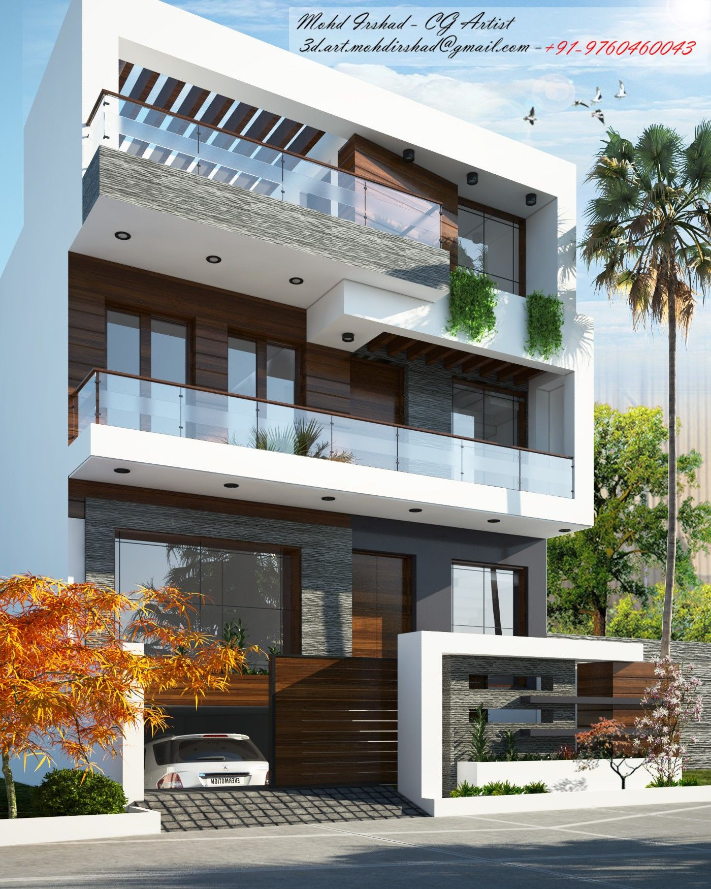 Modern House Front Design Elegant Idea by Mohd Irshad On 3d Art Architectural Visualization