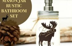 Moose Bathroom Decor Awesome Mason Jar Bathroom Set Rustic Animals Woodland Animals