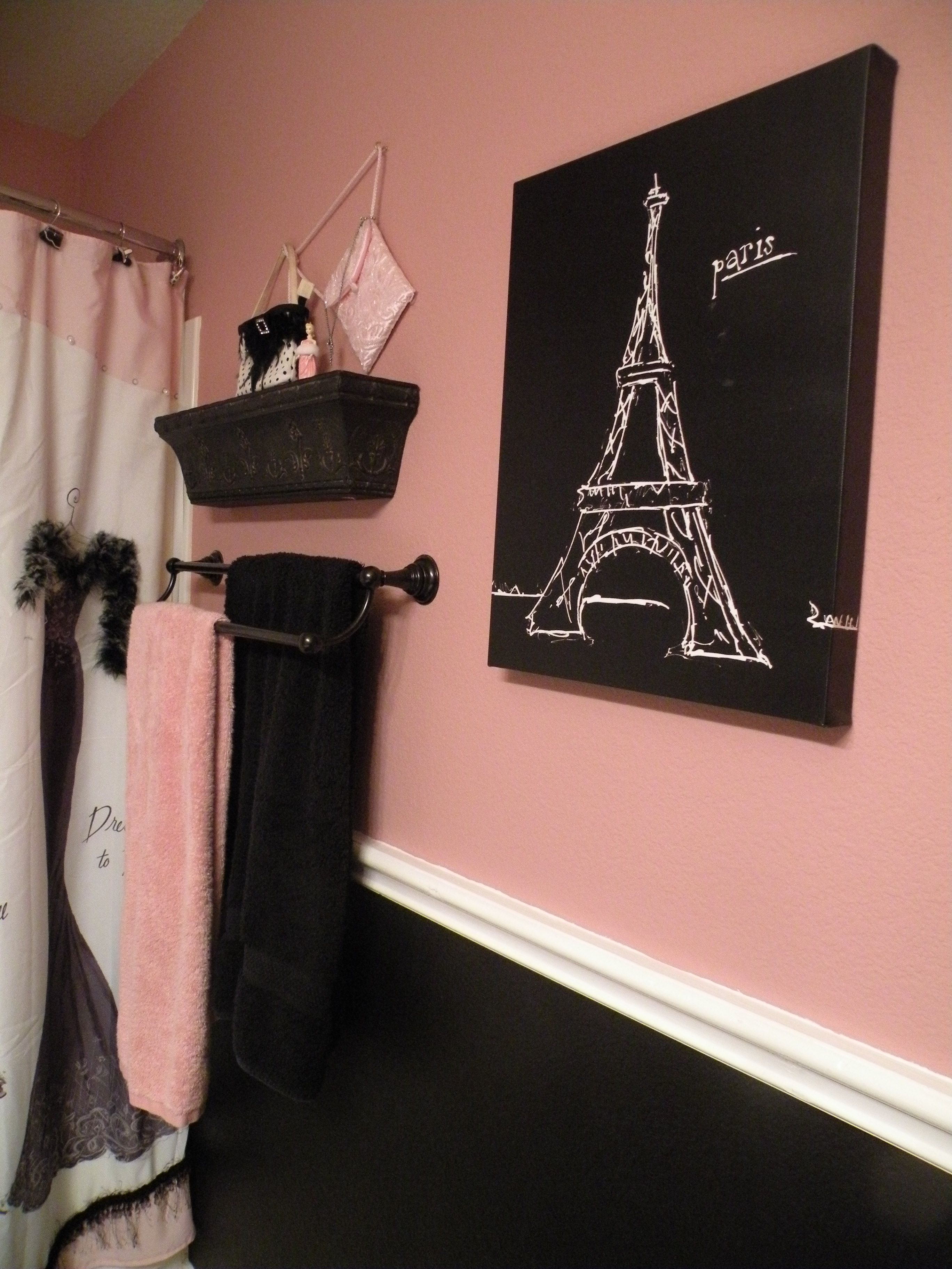 Pink and Black Bathroom Decor Lovely Black and Pink Paris Bathroom Shower Curtain and