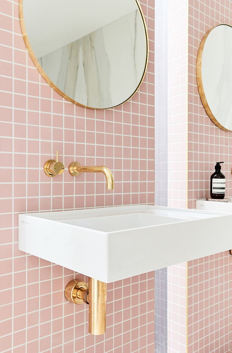 Pink Tile Bathroom Decorating Ideas Unique A Gorgeous Pink Tiled Bathroom with Gold Hardware