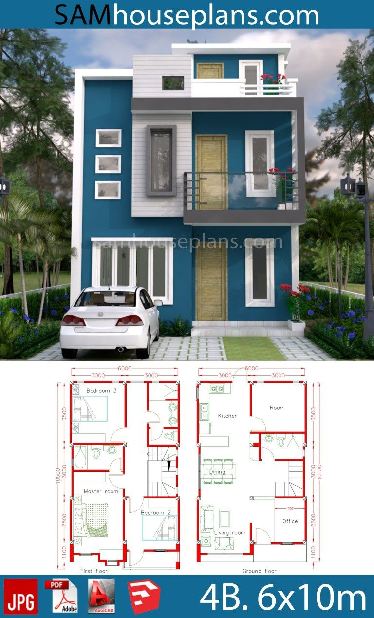 Simple Model House Picture Lovely House Plans 6x10m with 4 Rooms