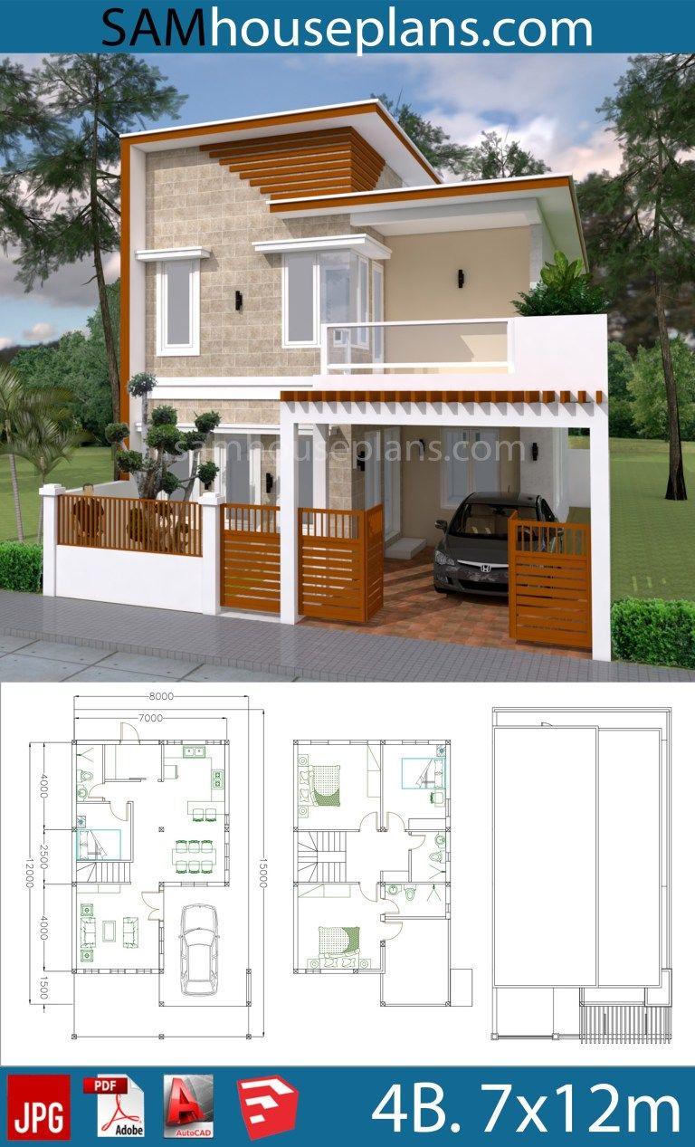 Simple Model House Picture Lovely House Plans 7x12m with 4 Bedrooms Plot 8x15 In 2020