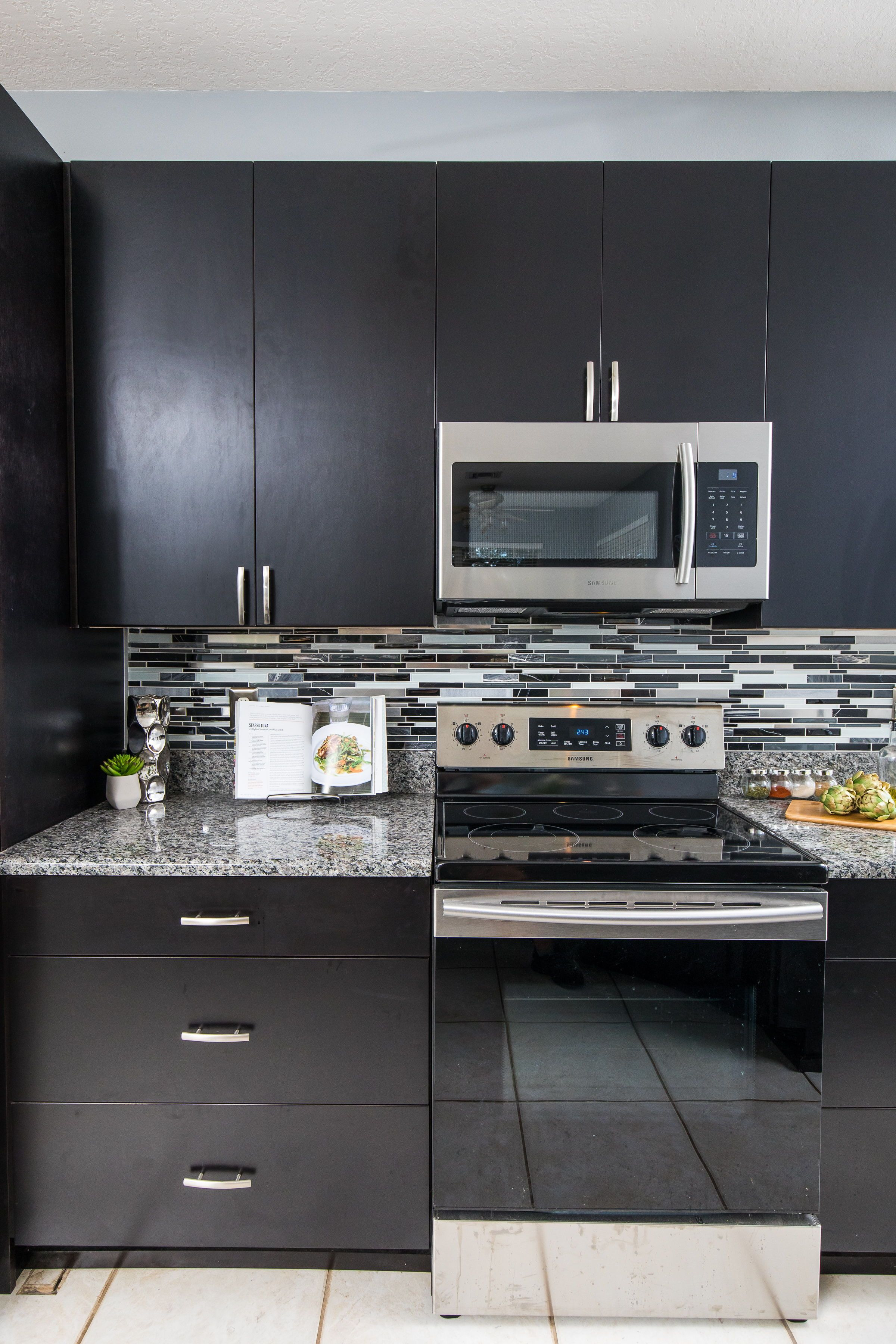 Slab Door Kitchen Cabinets Awesome Dark Stained Slab Door Cabinets with A Linear Glass