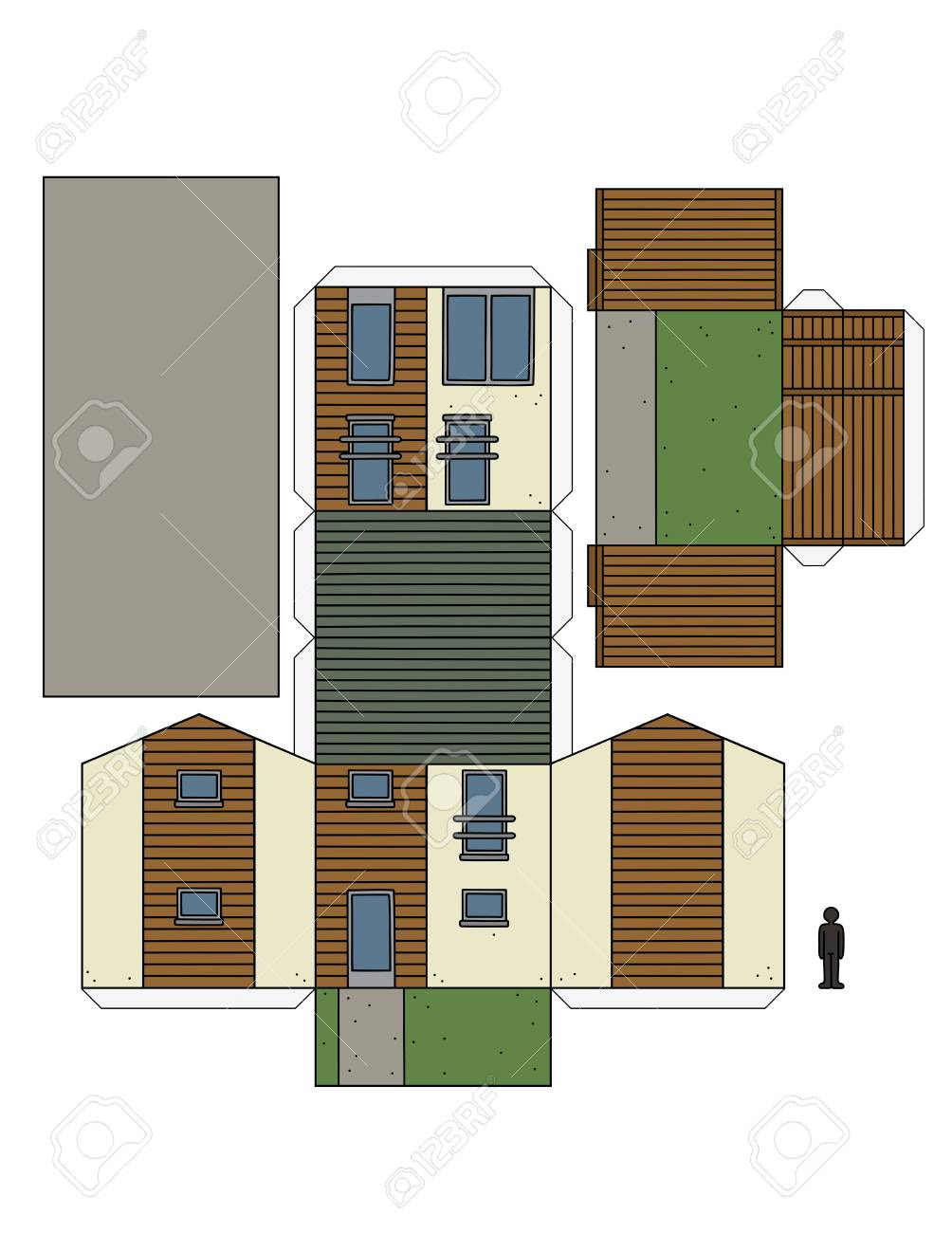 photo stock vector the paper model of a modern small house