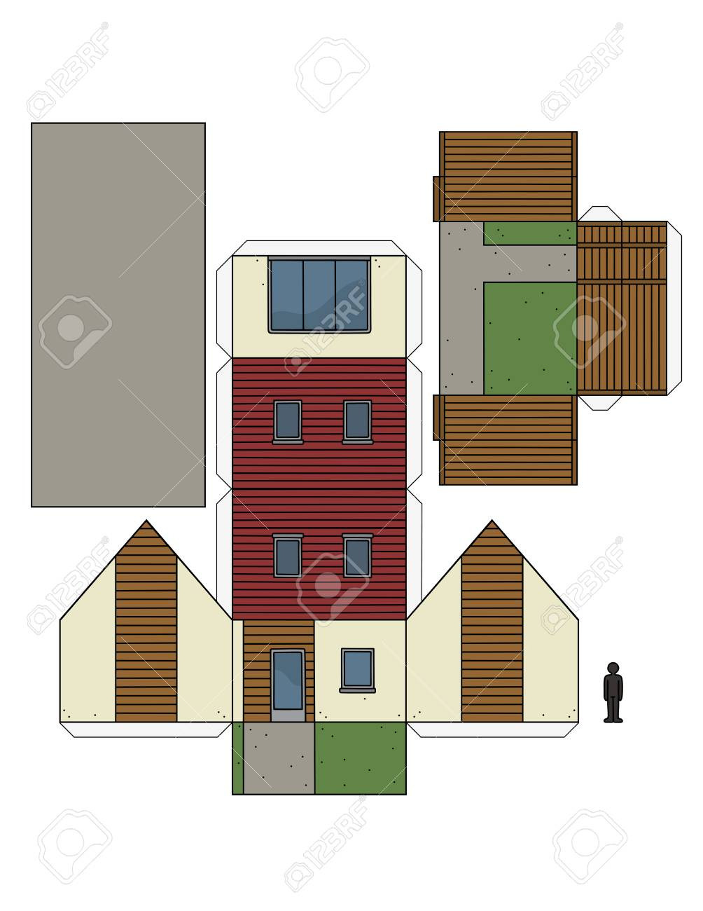 photo stock vector the paper model of a small house
