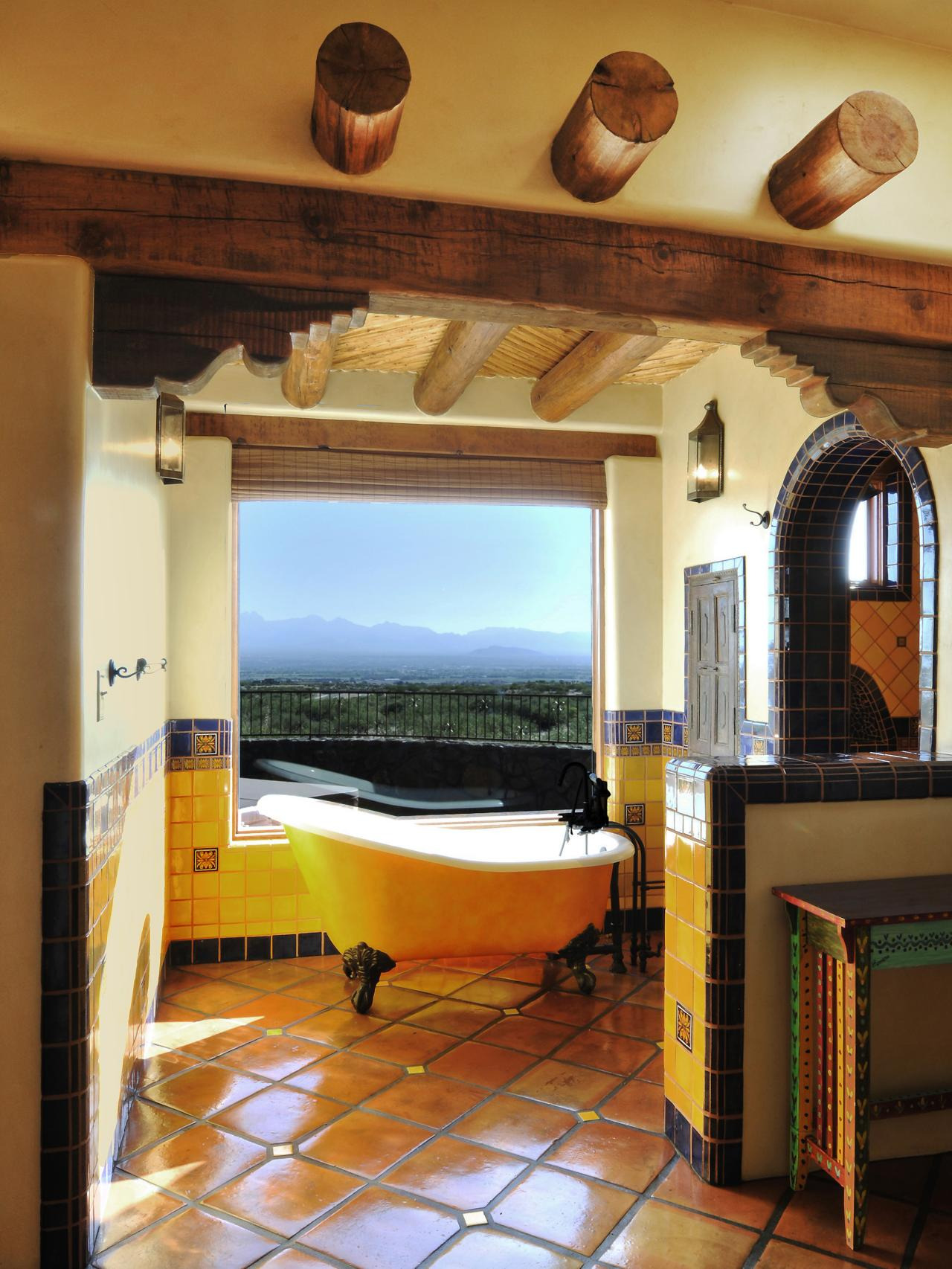 Yellow Southwestern Bathroom Design