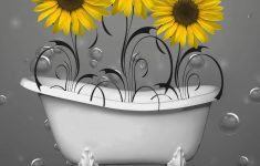 Sunflower Bathroom Decor Unique Yellow Gray Sunflowers Bubbles Bathroom Wall Art Decorative Matted 5x7 8x10 Yellow Home Decor Picture Options
