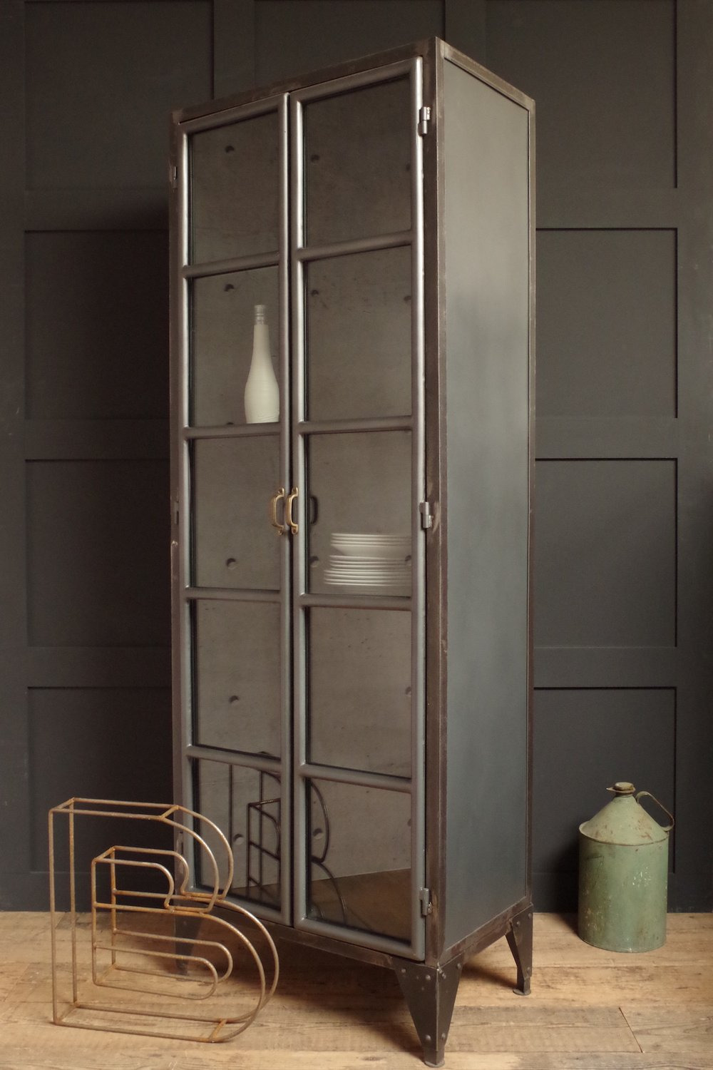 Tall Black Cabinet with Doors Luxury Industrial Display Cabinet
