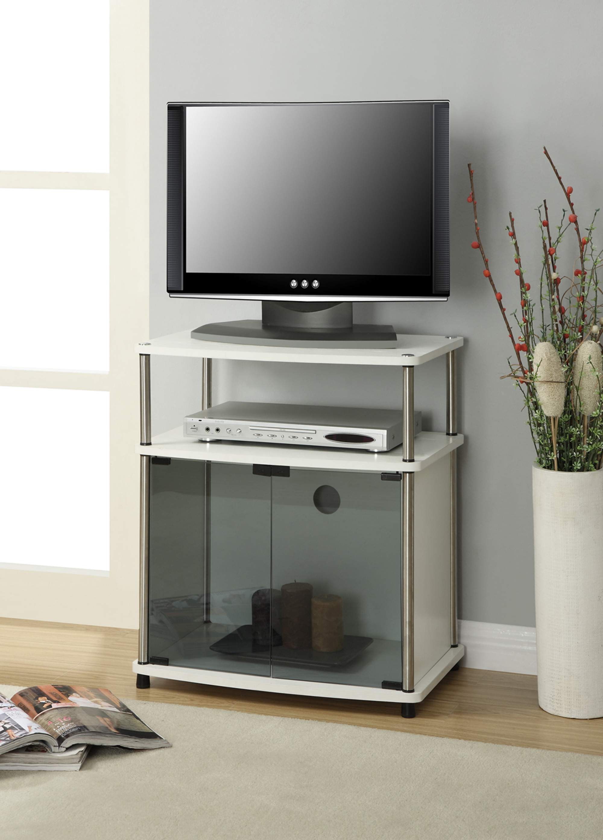 """Tv Cabinets with Glass Doors Best Of Convenience Concepts Designs2go No tools Tv Stand with Black Glass Cabinet for Tvs Up to 25"""" Multiple Colors"""