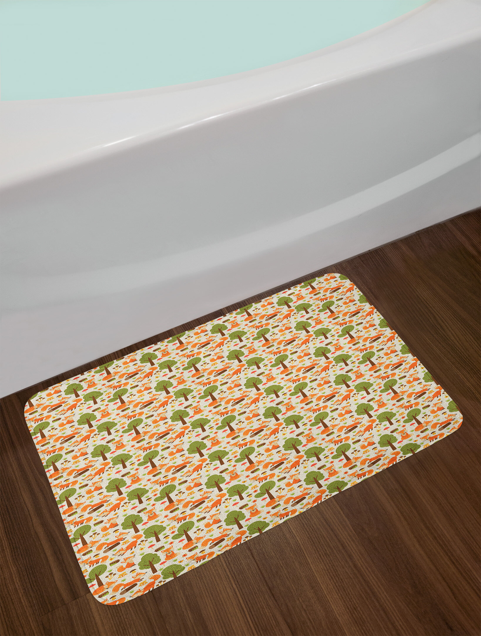 Wildlife Bathroom Decor Lovely Ambesonne Fox Bath Mat by Wildlife Illustration with Foxes Mushrooms Flowers and butterflies In the Spring forest Plush Bathroom Decor Mat with Non