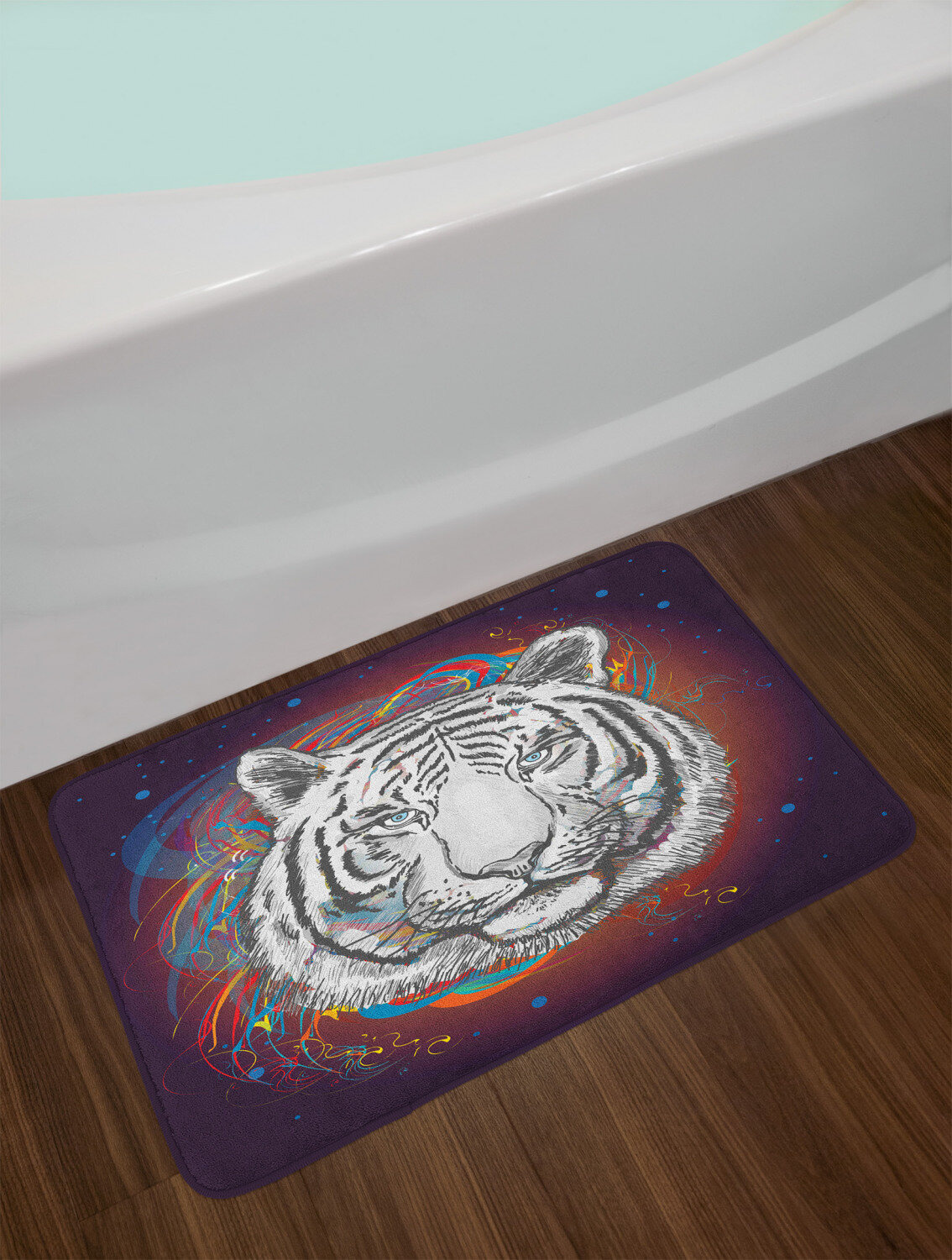 east urban home ambesonne animal bath mat wildlife theme modern image of a white tiger lion head from outer space plush bathroom decor mat with non slip backing 295 x 175 brown white and black ebmk2148
