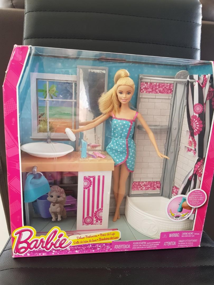 barbie doll and deluxe bathroom set a progressive