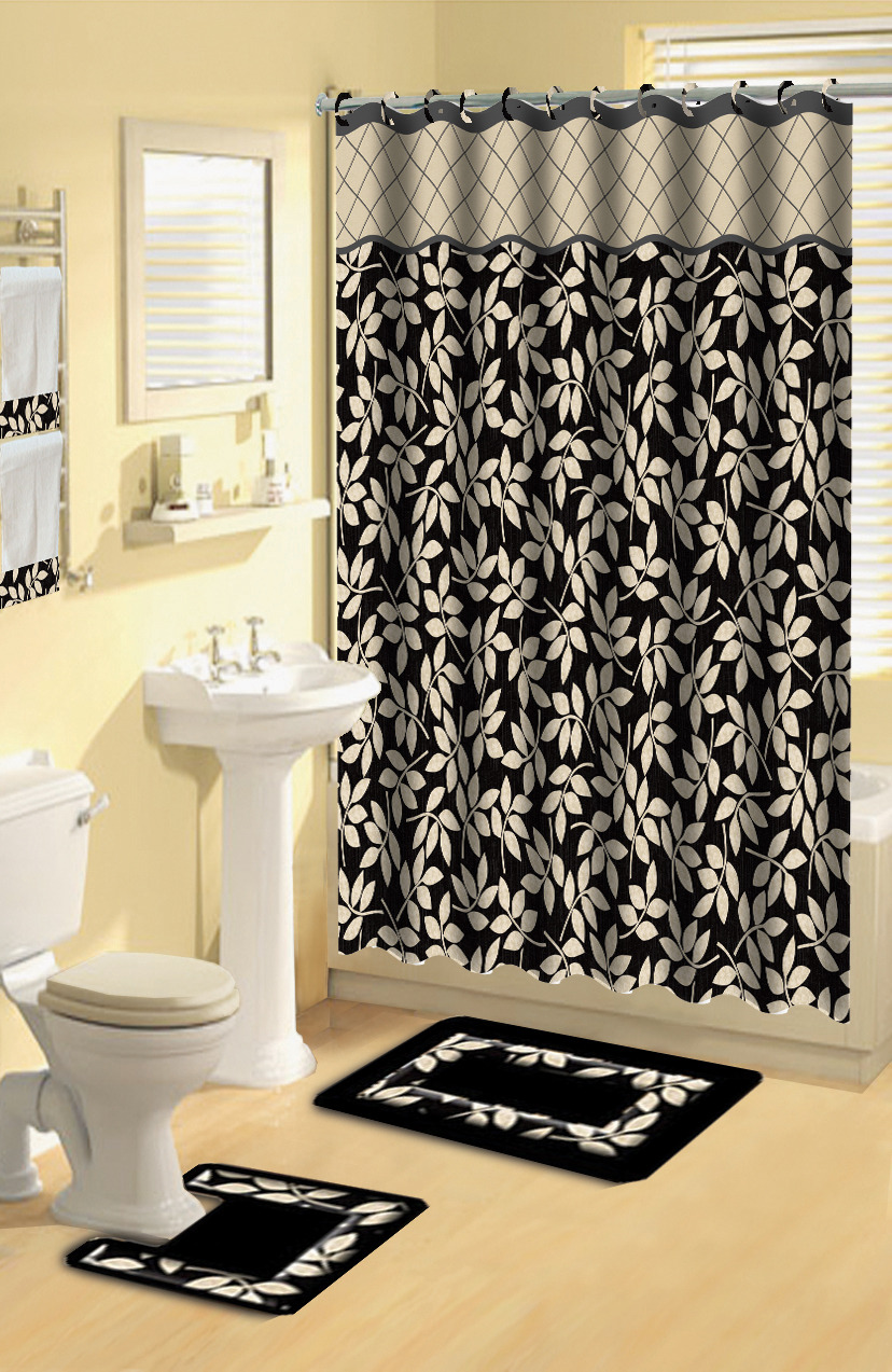 home dynamix boutique deluxe shower curtain and bath rug set bou 12 leaves black 7