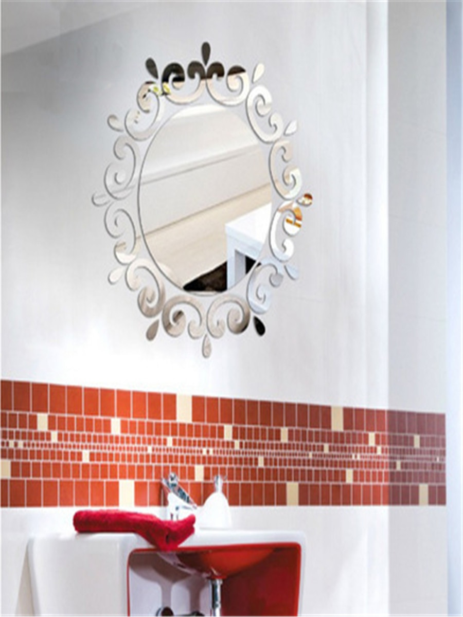 3d mirror wall sticker retro flower bathroom decorative mirror sticker g0xdx0xuwb n c1v eytooo 73