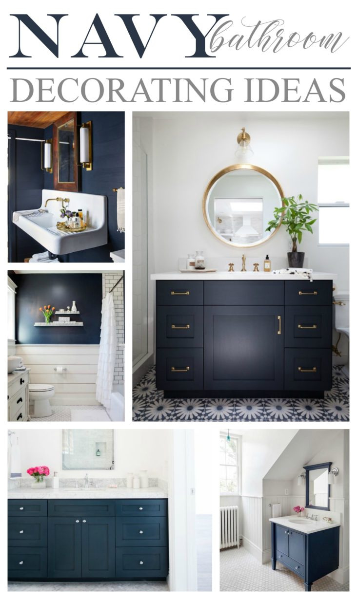 Navy Bathroom Decorating Ideas Blue Vanity and Wall Color Design 732x1230