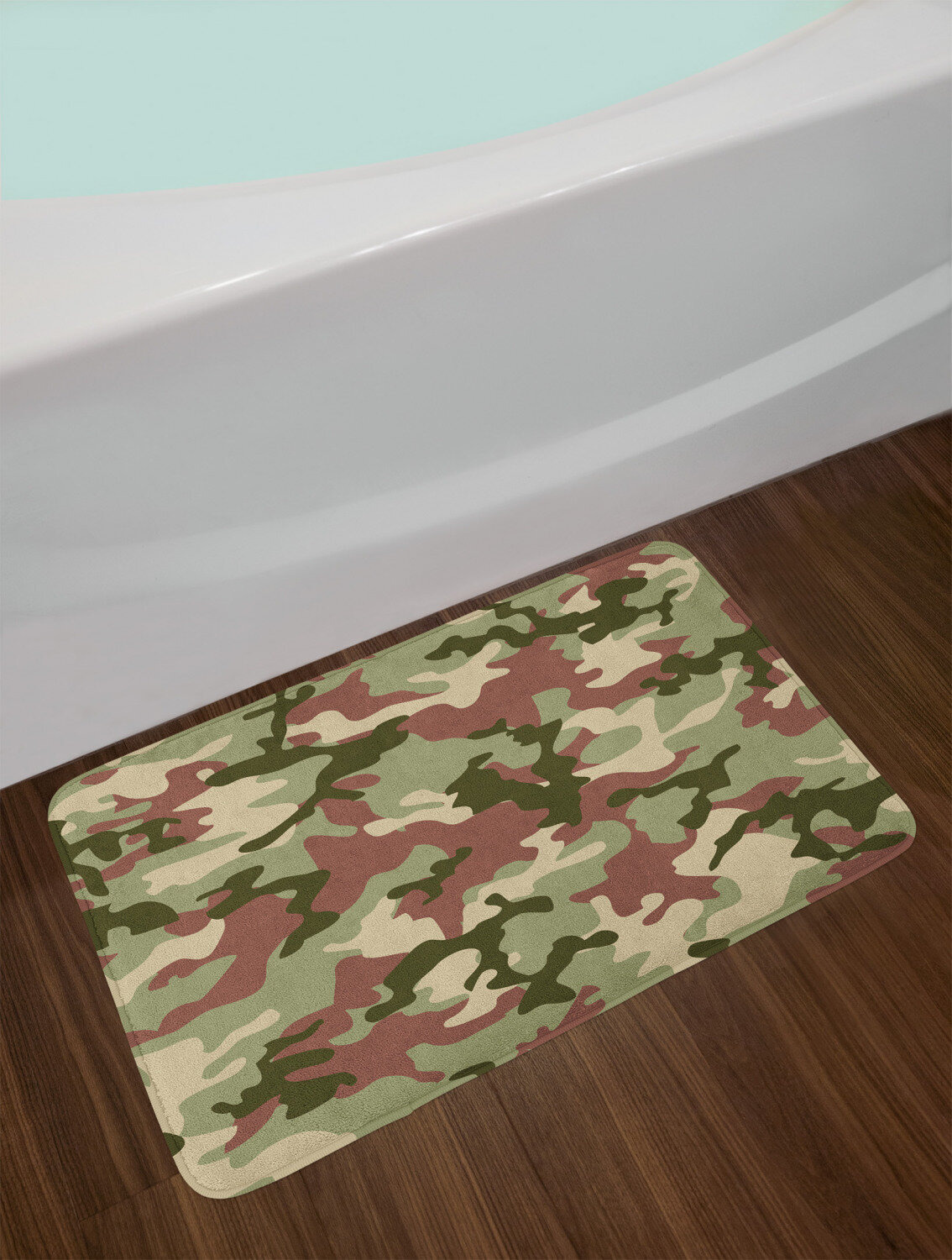 east urban home ambesonne camo bath mat illustrated green camouflage in forest colours hunter theme plush bathroom decor mat with non slip backing 295 x 175 dark green army green ebmk2673