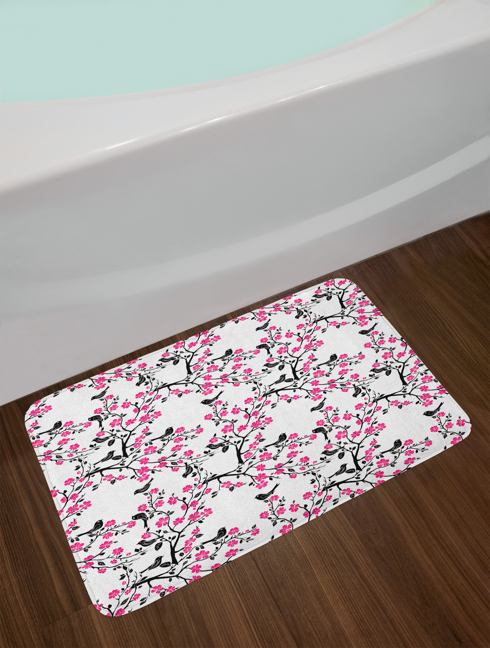 east urban home ambesonne cherry blossom bath mat by sakura tree with flourishing flowers and birds black silhouettes plush bathroom decor mat with non slip backing 295 w x 175 w inches black hot pink white etrl2762