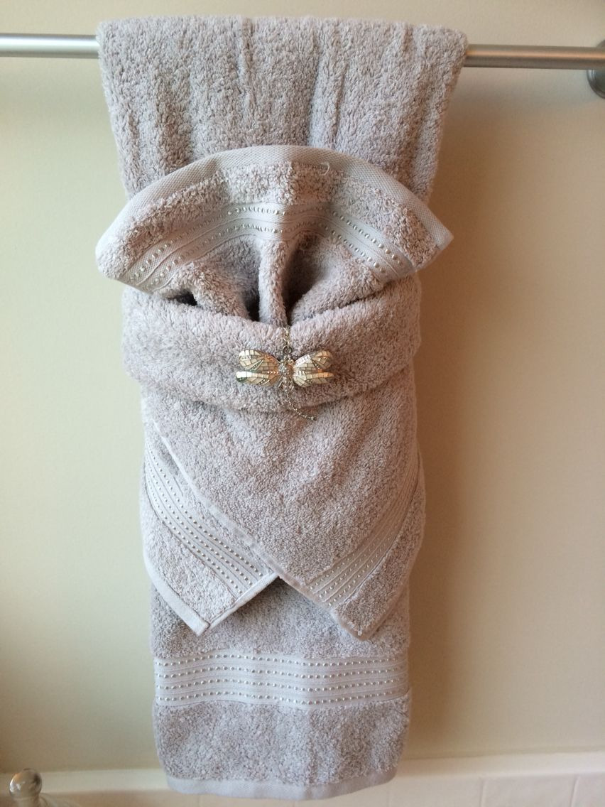 Decorative Bathroom Hand towels Luxury Fancy towel Folding with Dragonfly Bling More