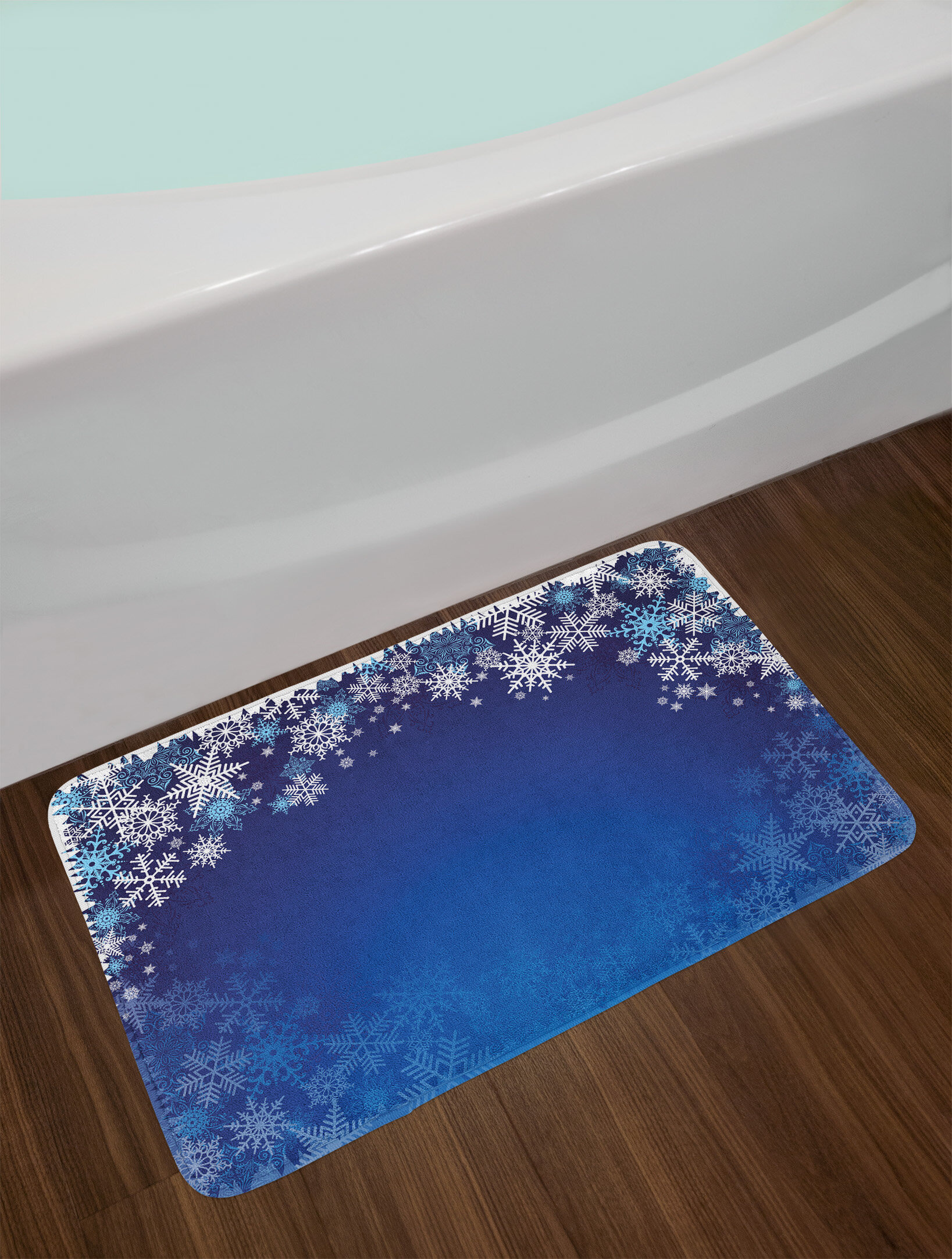 christmas ornamental snowflakes bath rug