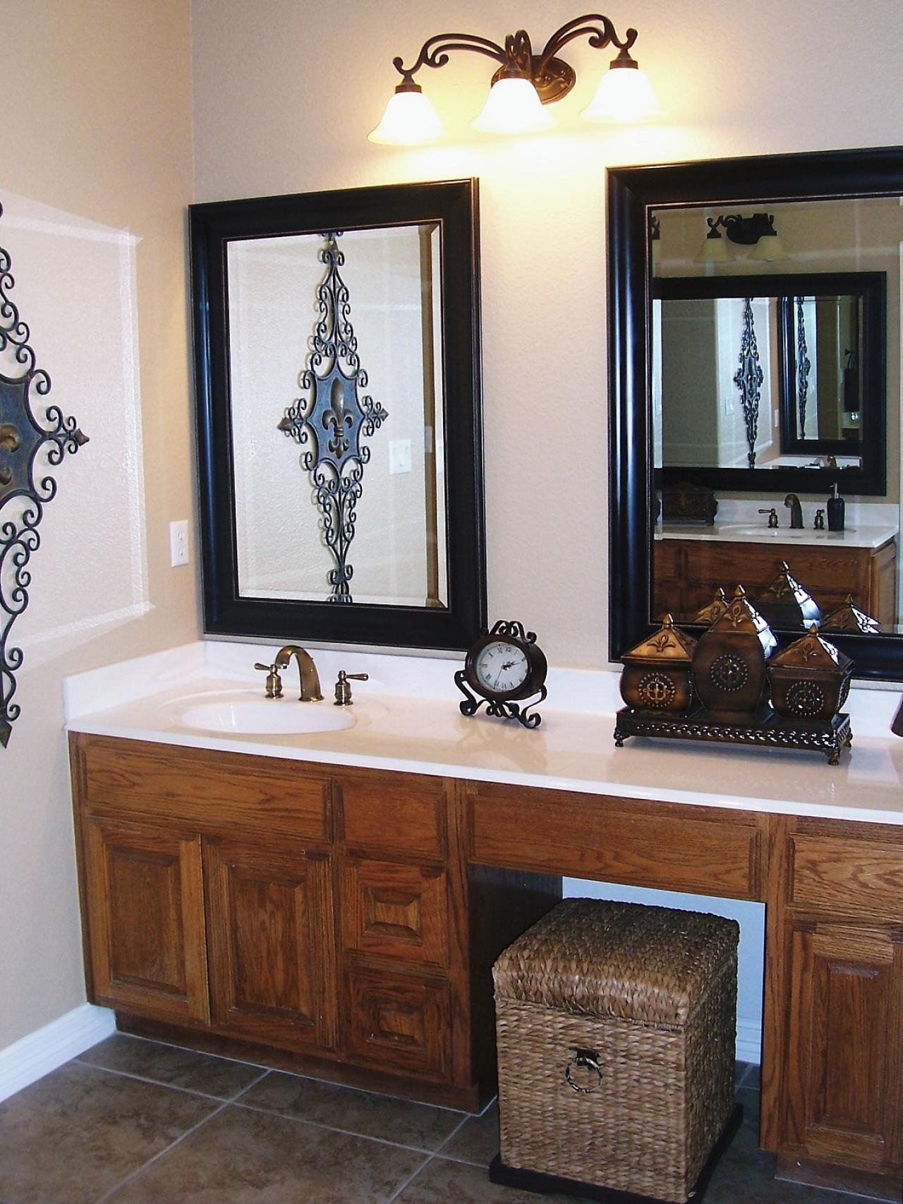Bathroom Design with Two Black Framed Bathroom Vanity Mirrors Marble Floor and Built In Wastafel Wooden Cabinets
