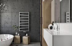 Modern Bathroom Wall Decor Elegant Exposed Cement Wall For The Modern Bathroom In Neutral Hues
