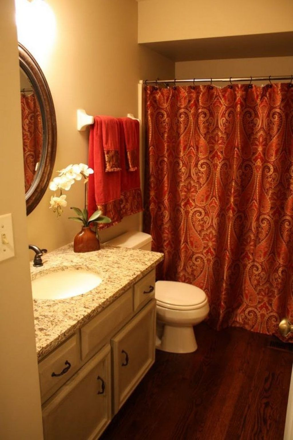 Relaxing Red Bathroom Decor Ideas 20