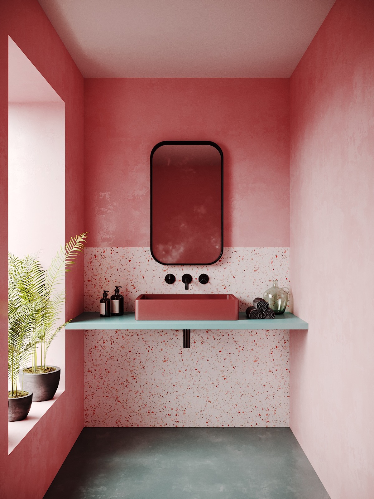 how to make a pink bathroom look modern