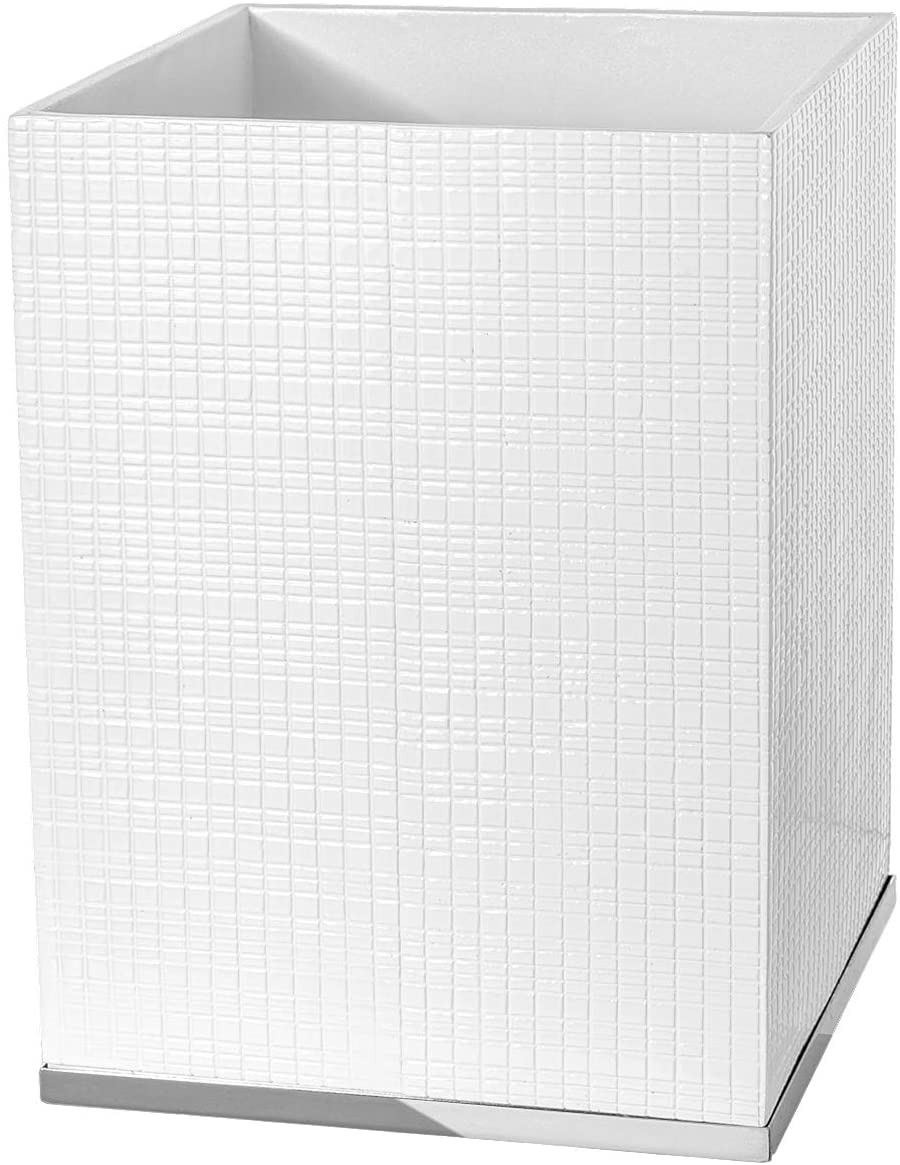 Bathroom Waste Baskets Decorative New Creative Scents Estella Small White Decorative Bathroom Trash Can Powder Room Durable Garbage Can Wastebasket Bin for Diaper Paper Wips Space