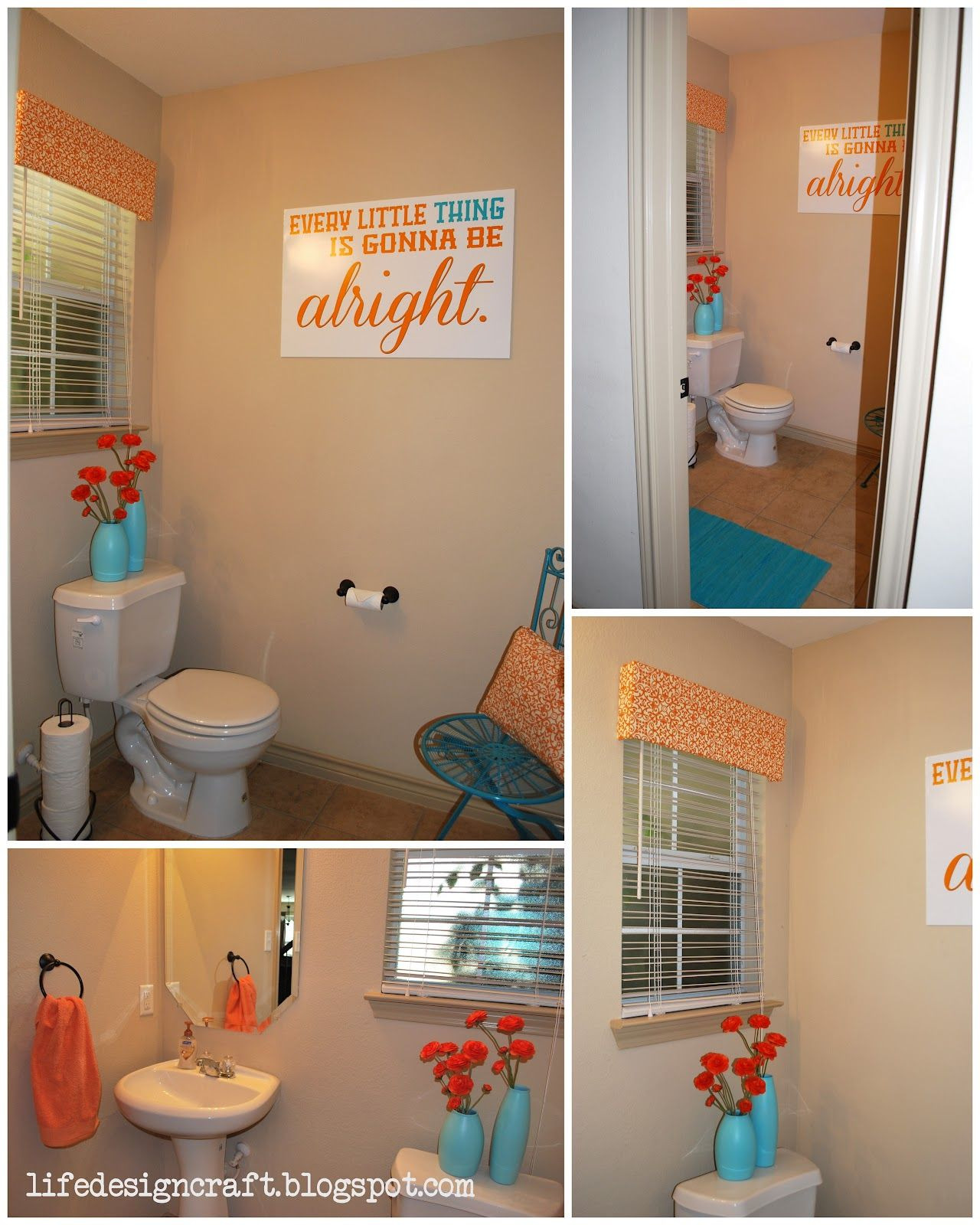 """Brown and Turquoise Bathroom Decor Inspirational I Just Wanna Be the Pretty One """""""