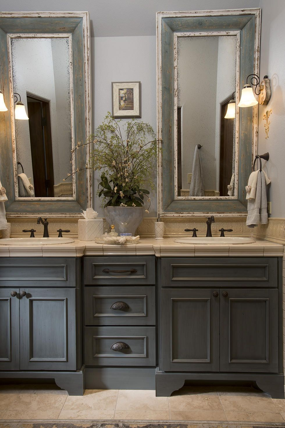 Country French Bathroom Decor Fresh French Country Bathroom Gray Washed Cabinets Mirrors with