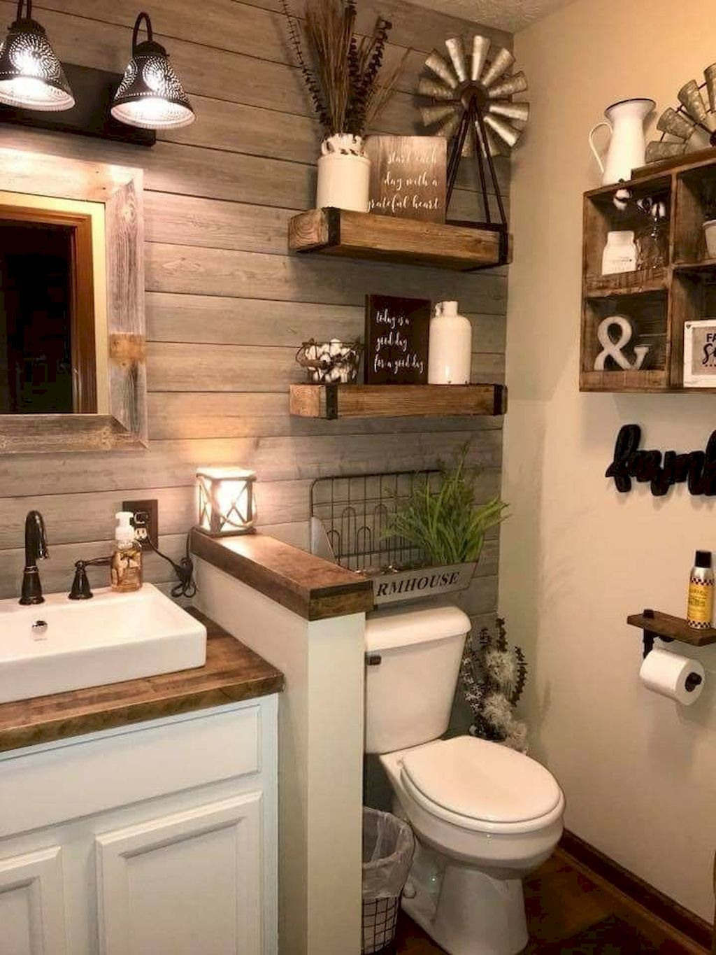 Farmhouse Bathroom Decor Vanity Rustic Country Style 1