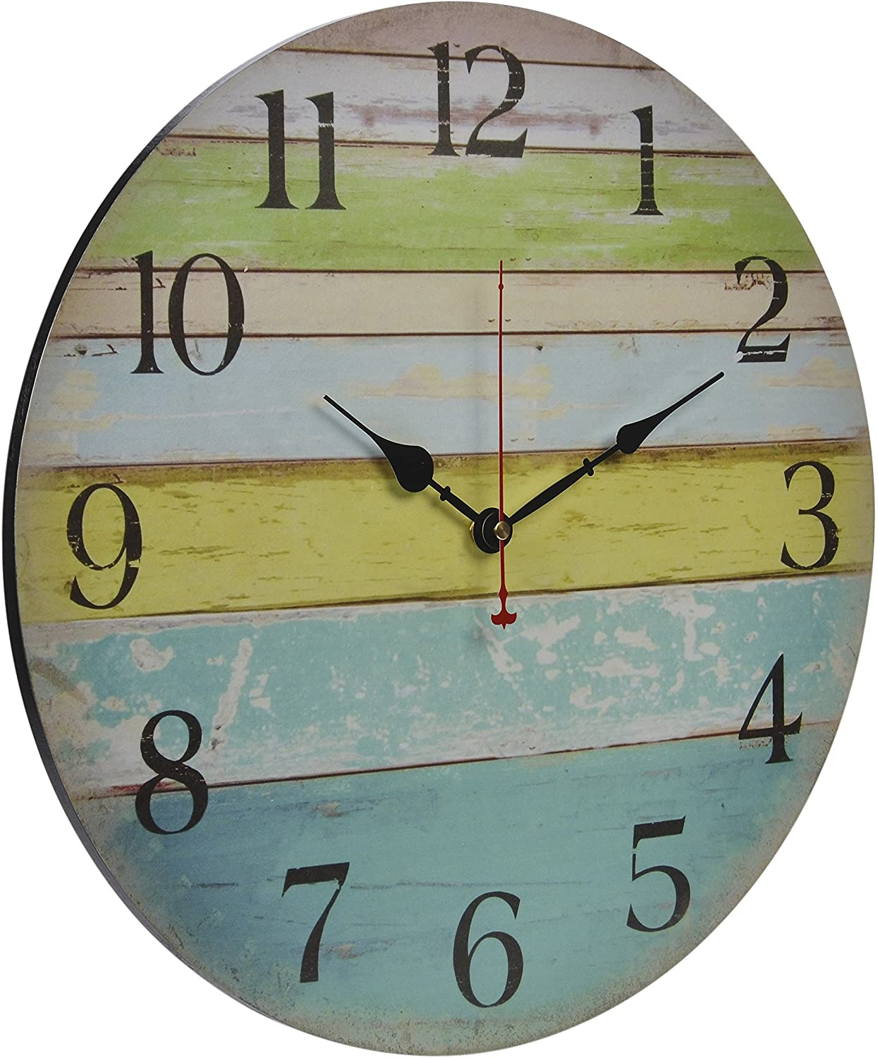 Decorative Bathroom Wall Clocks Lovely Old Oak 16 Inch Beach Wall Clock Decorative Silent Non Ticking Nautical theme for Bathroom Living Room Kitchen Bedroom Decor with Colorful Blue