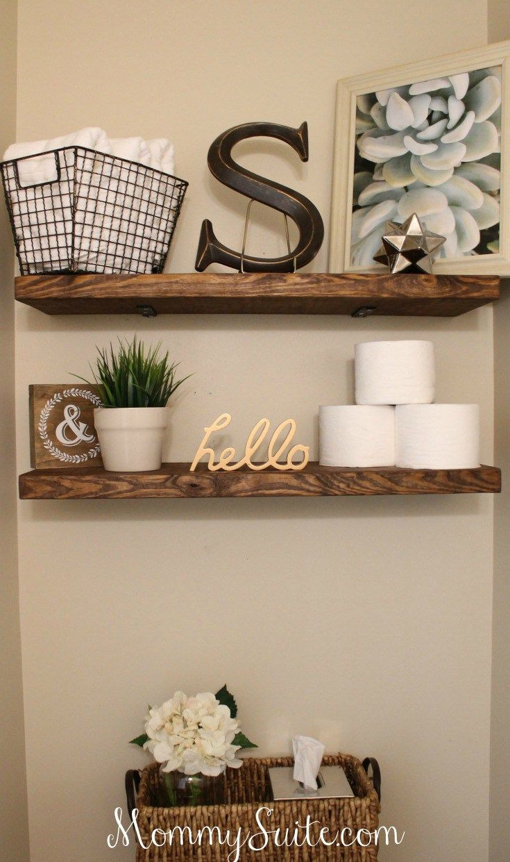 Decorative Bathroom Wall Shelves Awesome Diy Faux Floating Shelves One Day