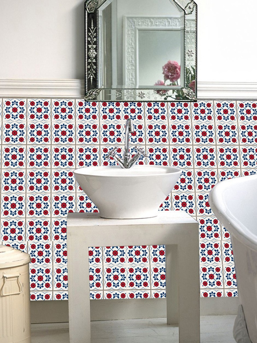 Decorative Bathroom Wall Tiles Awesome 12pcs Tile Stickers Geometric Flower Pattern Kitchen Living Room Bathroom Decorative Wall Stickers